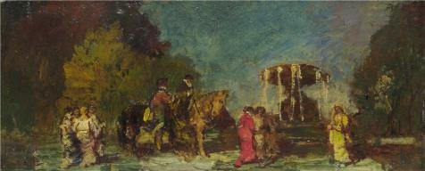[Oil Painting 'Adolphe Monticelli - Fountain In A Park,about 1875-80' Printing On Perfect Effect Canvas , 8x20 Inch / 20x50 Cm ,the Best Study Decoration And Home Decoration And Gifts Is This Amazing Art Decorative Prints On] (Community Costumes Dance Type)