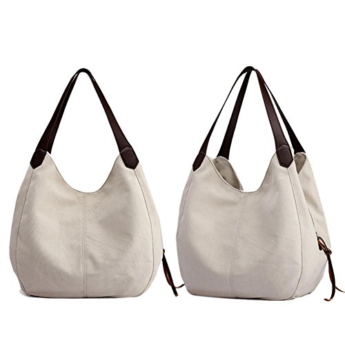 Shoulder Vintage Bags Everpert Ladies Women Totes Handbags Beige Casual Hobos Canvas gqdW68dw