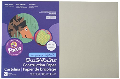 Pacon SunWorks Construction Paper, 12″ x 18″, 50-Count, Gray (8807)