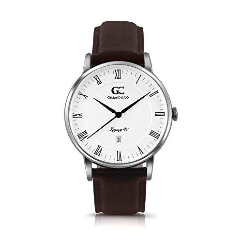 Gelfand & Co. Unisex Minimalist Watch Dark Brown Leather Clarkson 40mm Silver with White Dial