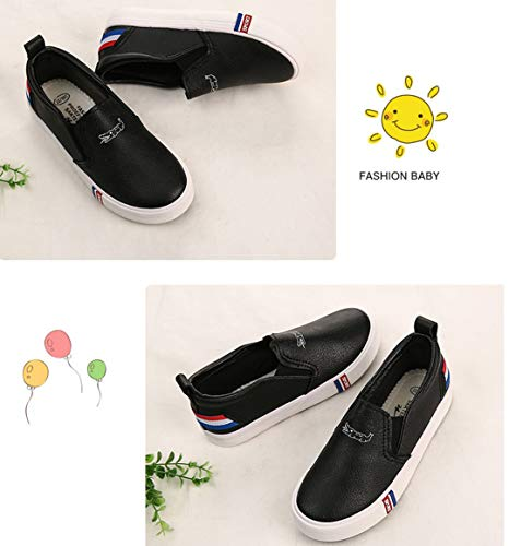 iDuoDuo Boy Girl Soft PU Leather Flat Leisure Shoes Fashion Stripes Loafers Black 2 M US Little Kid by iDuoDuo (Image #7)