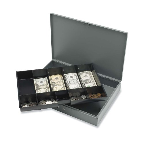 sparco-cash-box-with-2-keys-10-compartments-15-2-5-x-10-1-2-x-2-2-5-inches-gy-spr15500