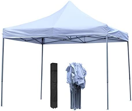 DOIT 10ft x 10ft Outdoor Portable Pop Up Shade Instant Folding Canopy,Party Tent,Height Adjustment,Sturdy High Grade Steel Frame,Portable Wheeled Carrying Bag,White