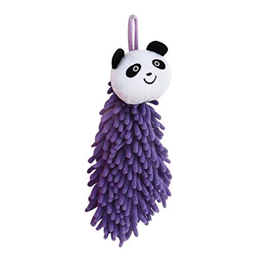 Mikilon Cartoon Chenille Hand Towels for Kids, Kitchen Hand Towels with Loop, Bathroom Hand Towels Hanging, Quick Dry Hand Bath Towel, Soft Absorbent Microfiber Hand Towels (Purple Panda) (Panda Hand Towel)