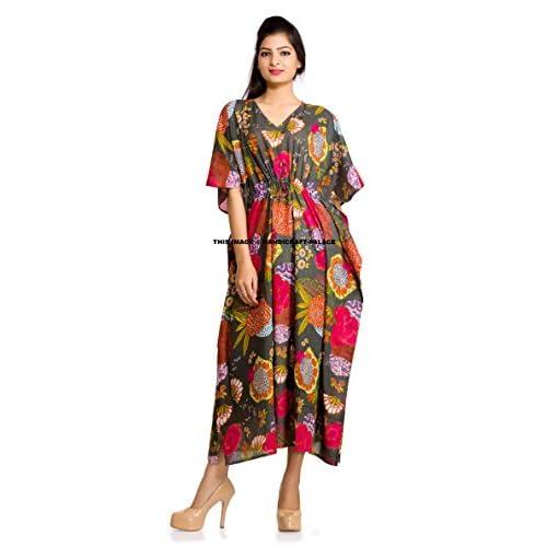 09c095ecd9 Women Kaftan Dress Floral Indian Boho Maxi Gown One Size Plus Caftan ...