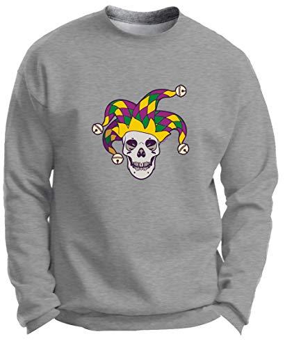Tri-Color Mardi Gras Skull Jester Skulls Mardi Gras Outfit Jester Skull Mardi Gras Attire Premium Crewneck Sweatshirt 3XL LtStl Light Steel]()