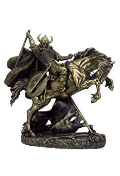 Viking Warrior Going to Battle on Horse Norse God Statue Sculpture