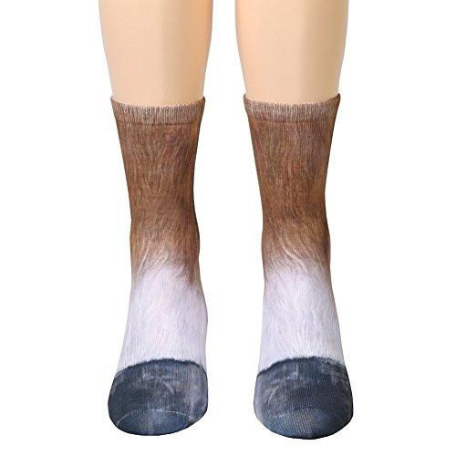 Unisex Adult Animal Paw Crew Socks - Sublimated Print - Horse