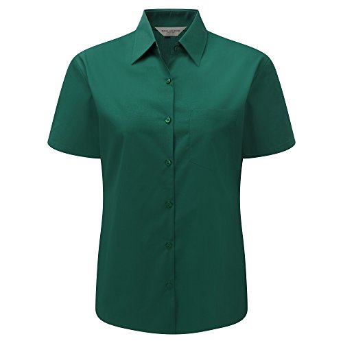 (Russell Collection Ladies/Womens Short Sleeve Poly-Cotton Easy Care Poplin Shirt (4XL) (Bottle Green))