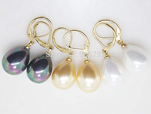 South Sea Shell Pearl Tearlever Back Earring (White)