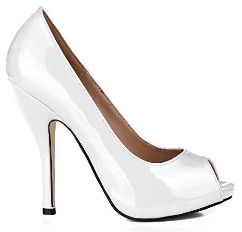 de los cuero con negro Nuevo Haga clubes los punta banquetes zapatos Pescado las de otoño y de Zapatos barnizado en mujer Zapatos para tacón en de perla clic calidades el Blanco de nocturnos alto OwFq4w1x
