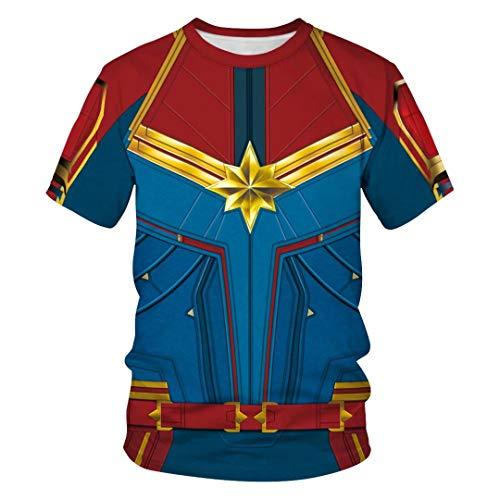 Tsyllyp Women Men Superhero T Shirt Carol's Captain Halloween T-Shirts Tops Tees