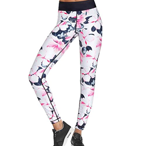 Ecurson Women Floral Print Sports Gym Yoga Workout High Waist Running Pants Fitness Elastic Leggings (L, White)