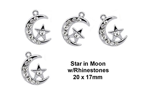 in Moon Charm with Rhinestones 20x17mm for Jewelry Making TVT-XDCM-1 ()