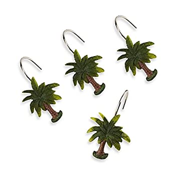 Shower Curtain Hooks Sculpted Palm Tree Set Of 12