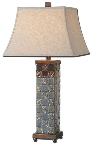 Uttermost Mincio Ceramic Table Lamp with Textured Ceramic Base Finished In A Dark Blue Glaze