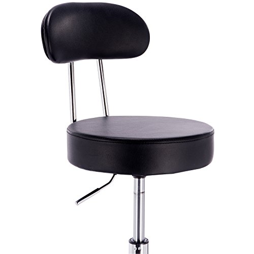 WOLTU ABSX1008blk-c 1x Faux Leather Adjustable Swivel Chair Stool with Backrest and Casters Hydraulic Gas Lift Office/Lab/Medical/Spa/Massage/Beauty/Pub Stool Seat Height:18.5''-23.2'',Black by WOLTU (Image #2)