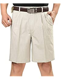 Men's Classic Fit Pleat Front Wrinkle Free Shorts Solid Casual Fashion Short