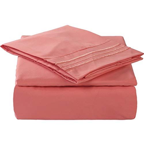 TEKAMON King Size 6 Piece Bed Sheet Set 1800 Bedding 100% Microfiber Polyester,Extra Deep Pocket,Breathable,Warm,Hypoallergenic,Soft,Comfortable,Durable,Include 1 Flat,1 Fitted,4 Pillowcases Coral