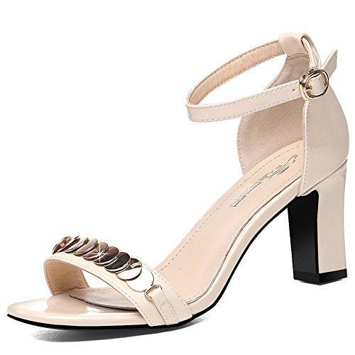 18 40 Pour Sandales pour Femmes perles HAIZHEN taille Open Couleur talon CN40 5 ans pour UK6 base femmes Beige d'été de Toe Casual Chaussures femmes pour chaussures EU39 Chunky Beige 6w6xUqT