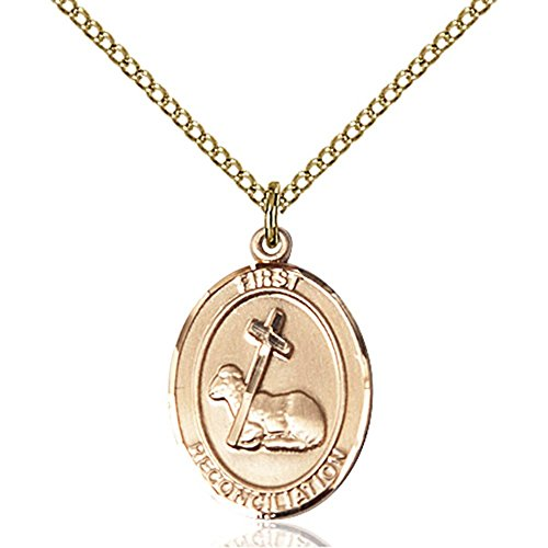 Gold Filled First Reconciliation Pendant 3/4 x 1/2 inches with 18 inch Gold Filled Curb Chain by Bonyak Jewelry Saint Medal Collection