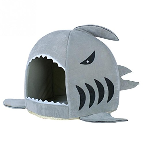 CARBE kennelWinter Pet Products Warm Soft Dog House Pet Sleeping Bag Shark Dog Kennel Bed House 50X48CM Grey