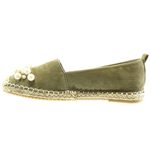 Angkorly - Chaussure Mode Espadrille Mocassin slip-on femme perle bijoux corde Talon bloc 2 CM - Vert