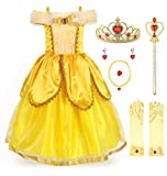 JerrisApparel Princess Belle Costume Deluxe Party Fancy Dress Up for Girls (4 Years, Yellow Two with Accessories)