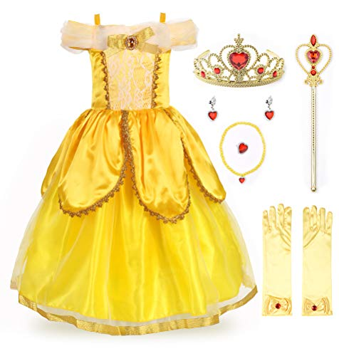 JerrisApparel Princess Belle Costume Deluxe Party Fancy Dress Up for Girls (7 Years, Yellow Two with Accessories)