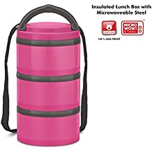 Insulated Stainless Steel Microwavable 3-Tier Lunch Box - For Hot and Cold Food Meals and Beverages – Stackable Containers with Handle and Shoulder Strap - Airtight Seal - Perfect for Travel On the Go