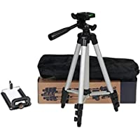 PRINTAXA Tripod-3110 Portable Adjustable Aluminum Lightweight Camera Stand with Three-Dimensional Head & Quick Release Plate for Video Cameras and Mobile Tripod(Silver, Black, Supports Up to 3000)