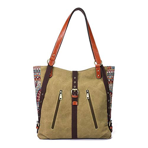 Canvas Shoulder Multifuntion Backpack Ladies Bags Crossbody Brenice Flower Vintage Women Handbags Khaki Bag Red Rucksack National PSqdnnAXw