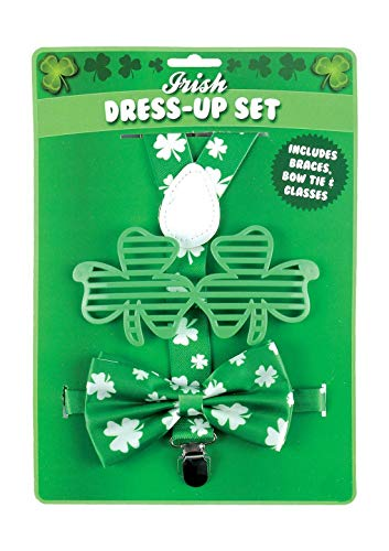 My Choice Stuff St Patrick Day 3Pc Braces Glasses and Bow Tie Set Adults Irish Party Accessory]()