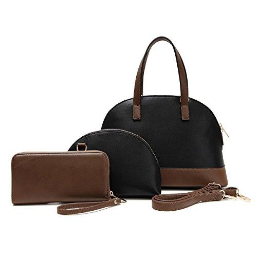 best-3-piece-black-vegan-leather-handle-shoulder-handbag-bowling-purse-2-in-1-bag-in-bag-cosmetic-ma