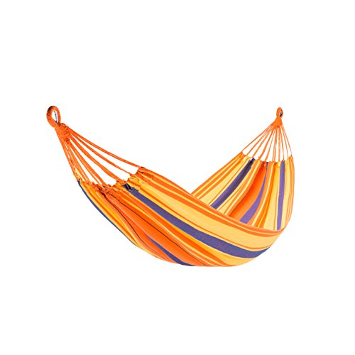 KingCamp Hammock Cotton Fabric Canvas 264lbs Swing Bed with Hardwood Spreader Bar Tree Hanging Colorful Stripes for Outdoor Camping Patio Yard Beach by KingCamp