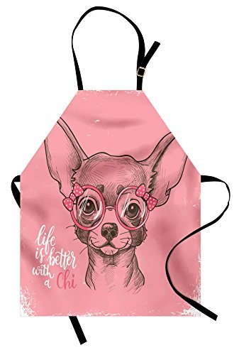 Ambesonne Dog Apron, Girl Chihuahua Sketch Illustration with Quote Fashion Glasses Ribbons Puppy, Unisex Kitchen Bib Apron with Adjustable Neck for Cooking Baking Gardening, Pale Pink Army (Puppy Aprons)