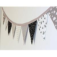 Flag Garland, Fabric Garland, Wall Decoration, Nursery Decoration, Black White and Grey Flag Banner