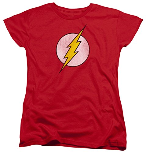 Womens: The Flash - Flash Logo Distressed Ladies T-Shirt Size (Ladies Flash)