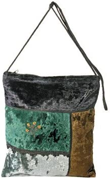 Yair Emanuel Judaica VELVET BAG GREEN FLOWERS Bundle Top Handle Handbags For Women