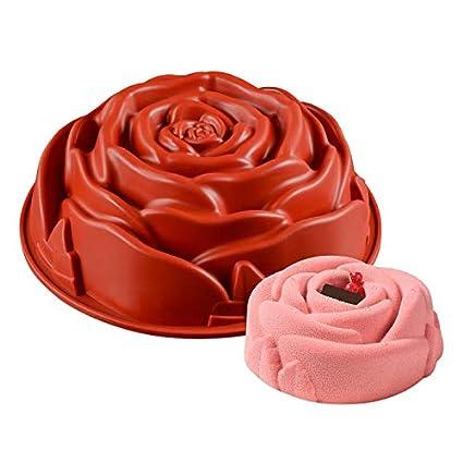 KBstore Molde Antiadherente de la Torta de Silicona - Forma de Rosa Flor Moldes de Silicone