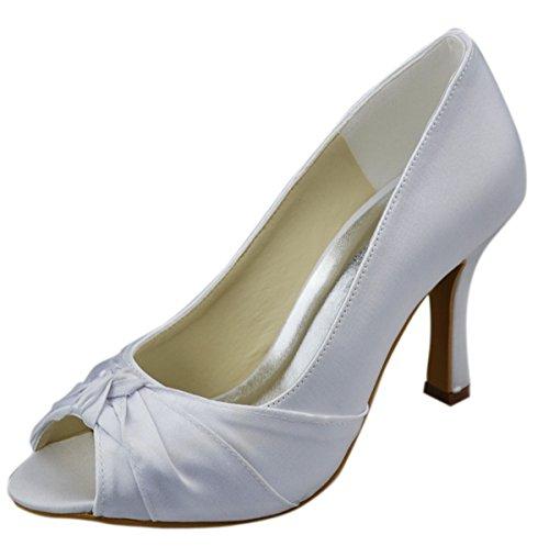 Womens de abierta nupcial punta satén Ivory Minitoo de tacón Stiletto sandalias boda fiesta alto Bowknot de noche GYAYL002 de zapatos 877Bq65