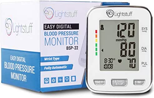 Lightstuff Easy Digital Blood Pressure Monitor: FDA-Approved, Portable Wrist-Cuff for Dependable, Painless BP Monitoring at Home