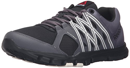Reebok Men's Yourflex Train 8.0 L Mt Cross-Trainer Shoe, Stealth/Black/Ash Grey/Chalk, 11 M US