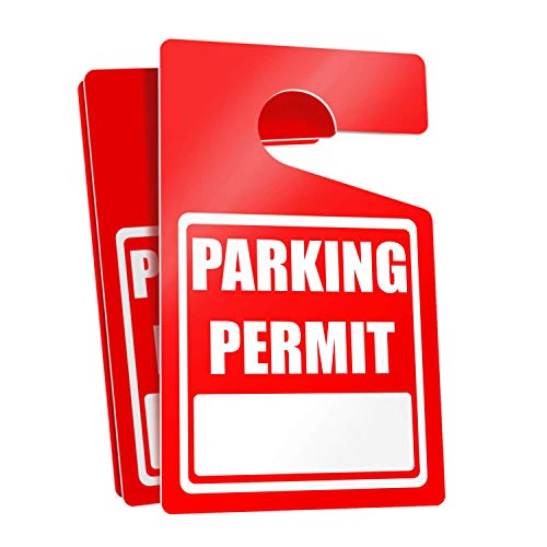 (Parking Permit Hang Tags (Red) - 50 Tough Thick Re-Usable Weatherproof Passes for Car Or Vehicle Rear View Mirror/Perfect for Employees, Residents, Tenants and More 3