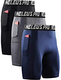 Men's 3 Pack Compression Short with Pocket