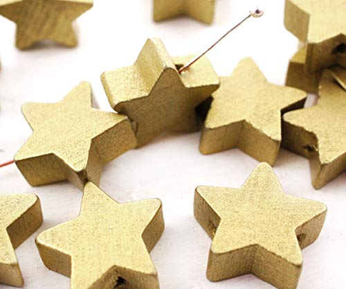 - 16pcs Gold Wood Star Pendant Wooden Christmas Tree Charms Beads Necklace Bracelet Jewelry 15mm Hole 2mm