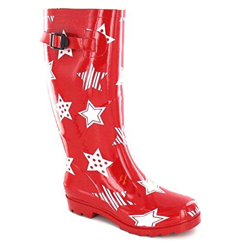 Star Spot Ladies Black Boots Womens On Rubber Wellington Print rZqZB4g