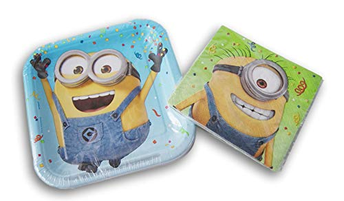 Despicable Me Minions Party Supply Kit - (16) Beverage Napkins and (8) Cake Plates