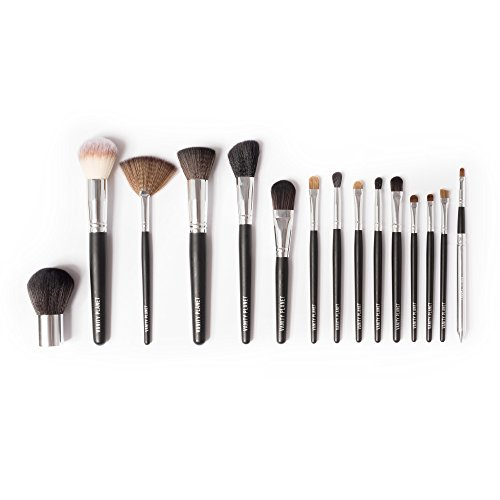 Vanity Planet Palette Professional Makeup Brush - Soft Synthetic Bristles, Black Set - Pack of 15 ()