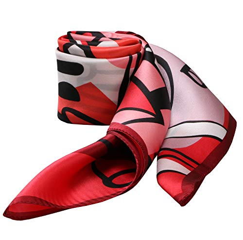 100% Silk Scarf Neckerchief Small Square Print Scarves Women (Summer Drinks Watermelon Red)